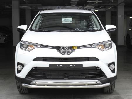 Защита переднего бампера радиусная двойная d-53+43 с двумя загибами Toyota Rav-4 2015-наст.вр.